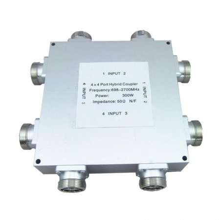 4 In 4 Out RF hybrid coupler, 698-2700MHz, 300W, 6dB, DIN Female